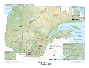 Carte des régions sociosanitaires du Québec